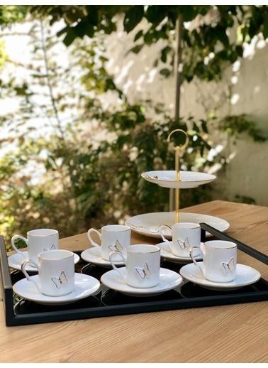 Arow Porselen Kelebekli 6lı Kahve Takımı Renkli
